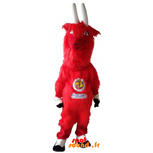 Mascot Aelos, Goatee Red, Furry With Big Horns - MASFR034222 - Goats and goat mascots
