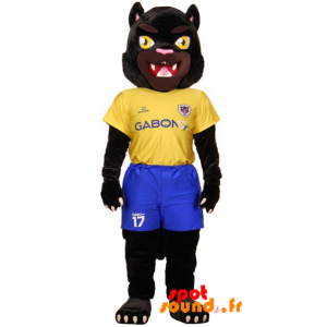 Black Tiger Mascot Dressed In Yellow And Blue Sports - MASFR034227 - Sports mascot