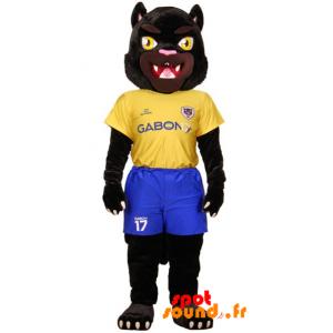 Mascotte de tigre noir en tenue de sport jaune et bleue