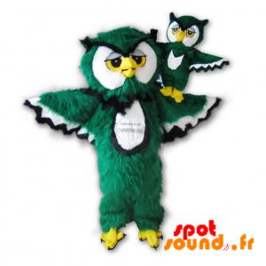 Mascotte Chartreuse. Mascotte de hibou vert, blanc et noir - MASFR034231 - Mascotte d'oiseaux
