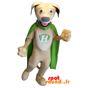 Beige hundmaskot med en grön cape - Spotsound maskot
