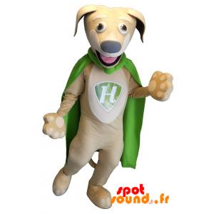Mascotte de chien beige avec une cape verte