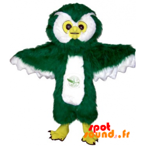Green Owl Mascot And Giant Hairy White - MASFR034233 - Mascot of birds