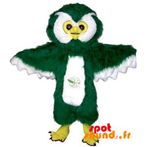 Mascotte de hibou vert et blanc géant et poilu