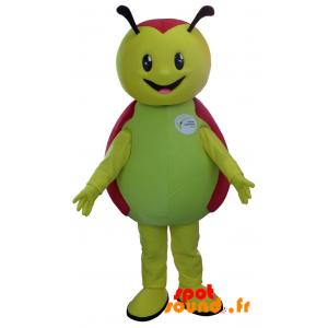 Mascotte de coccinelle verte et rouge, mignonne et souriante