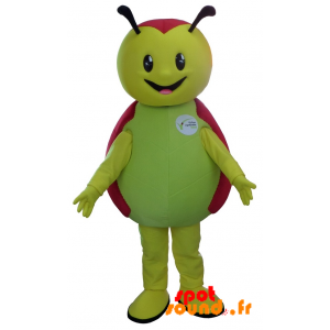 Mascot Green And Red Ladybug, Cute And Smiling - MASFR034236 - Mascots insect
