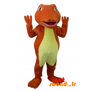 マスコットの赤と黄色のワニ。恐竜のマスコット
