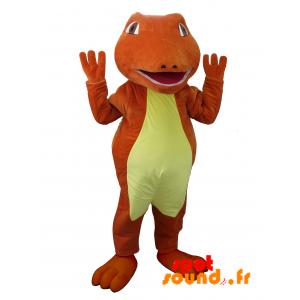 Mascotte de crocodile rouge et jaune. Mascotte de dinosaure