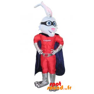 Mascotte de lapin super-héros avec un bandeau et une cape