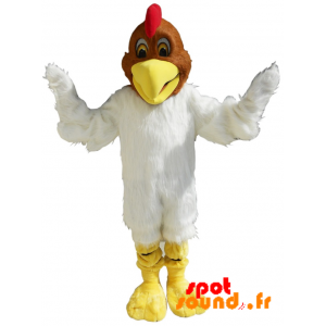 White And Brown Chicken Mascot, Soft And Hairy - MASFR034240 - mascotte