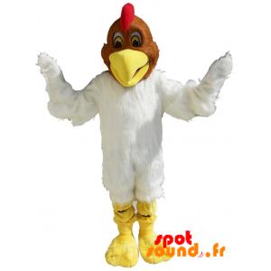 Mascotte de poulet blanc et marron, doux et poilu - MASFR034240 - Mascotte de Poules - Coqs - Poulets
