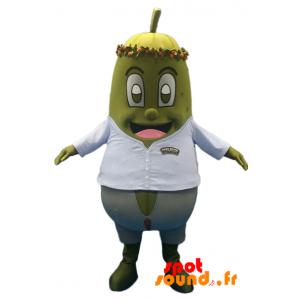 Mascotte Hugo Reitzel. Mascotte de cornichon avec une chemise - MASFR034242 - Mascotte de légumes