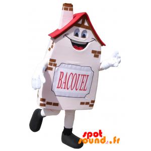 Mascotte de Bacouel, de maison, de maisonnette rose, souriante