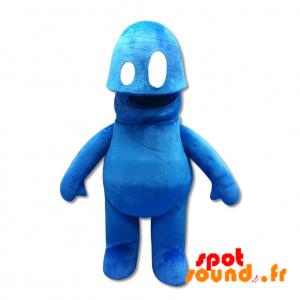 Mascotte de bonhomme bleu. Mascotte de monstre bleu