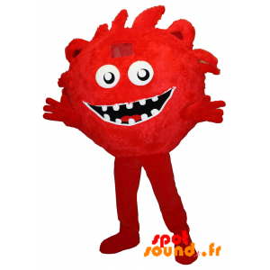 Mascotte de monstre rouge, poilu. Bonhomme rouge, géant