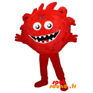 Mascotte de monstre rouge, poilu. Bonhomme rouge, géant - MASFR034245 - Mascottes de monstres