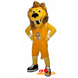 Lion Mascot, Yellow And Brown Tiger In Sportswear - MASFR034247 - Sports mascot
