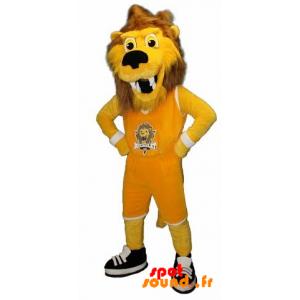 Mascotte de lion, de tigre jaune et marron en tenue de sport