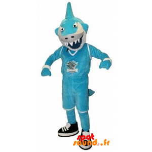 Mascot Blue And White Shark In Fierce - MASFR034248 - Mascots shark