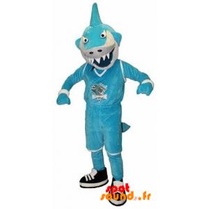 Mascot Blue And White Shark In Fierce - MASFR034248 - mascotte