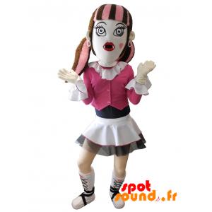 Mascotte de fille gothique avec une jupe et les cheveux colorés