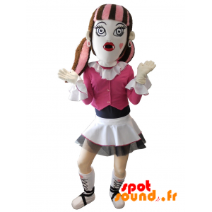 Gothic Girl Mascot With A Skirt And Colored Hair - MASFR034252 - Mascots boys and girls