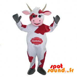 Mascot White And Red Cow. Mascot Spirit Jura - MASFR034255 - mascotte