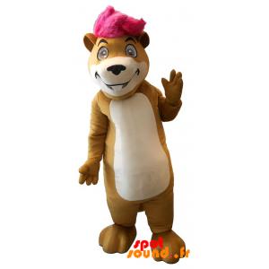 Mascotte de hamster, de marmotte avec une mèche rose