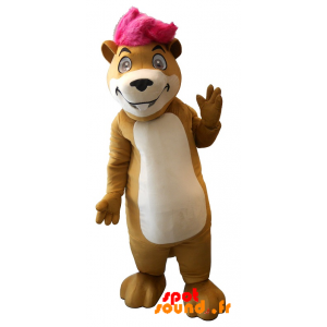 Hamster Mascot, Groundhog With A Pink Strand - MASFR034256 - Animals of the forest