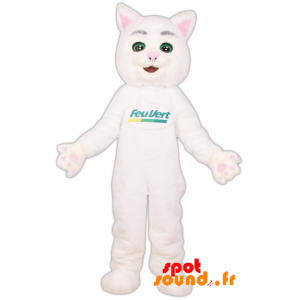 Mascot Green Fire. White Cat Brand Mascot Green Light - MASFR034263 - Cat mascots