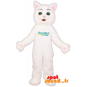 Mascotte Feu Vert. Mascotte du chat blanc de la marque Feu Vert - MASFR034263 - Mascottes de chat