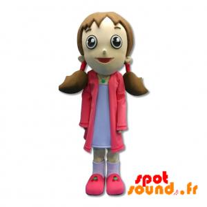 Mascotte de fillette habillée en rose avec des couettes