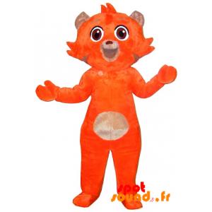 Mascotte de chat orange et beige, doux et mignon