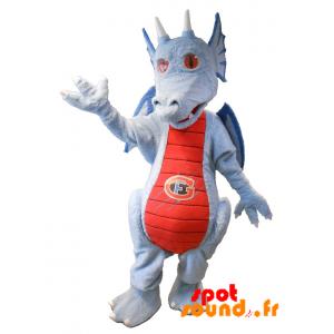 Mascotte de dragon bleu et rouge. Mascotte fantastique