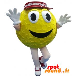 Mascotte de balle de golf jaune avec une casquette rouge - MASFR034272 - mascotte