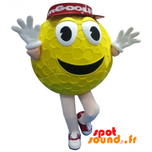 Yellow Golf Ball Mascot With A Red Cap - MASFR034272 - Mascots of objects