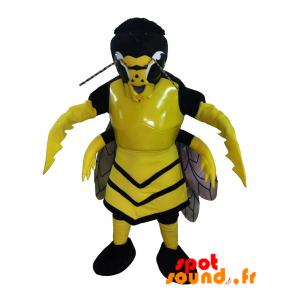 Mascotte de frelon, de guêpe jaune et noire, effrayante
