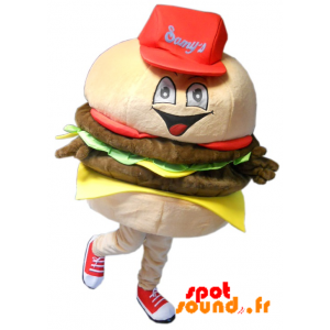 Giant Burger Mascot, Realistic - MASFR034275 - Fast food mascots