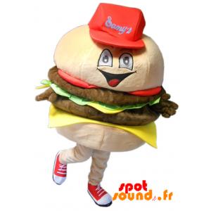 Mascotte de hamburger géant, très réaliste