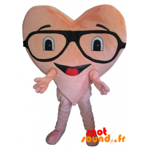 Heart Giant Pink Mascot, With Glasses - MASFR034279 - Mascots unclassified