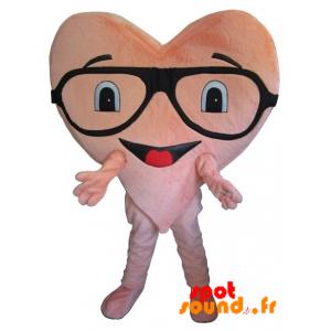 Mascotte de cœur rose géant, avec des lunettes