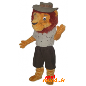 Lion Mascot Dressed In Explorer Outfit - MASFR034280 - Lion mascots