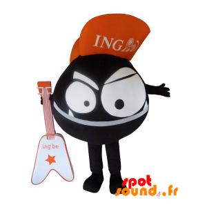 Mascotte de monstre noir, tout rond. Mascotte ING Direct - MASFR034281 - Mascottes de monstres