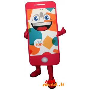 Mascotte de téléphone portable rose géant. Mascotte Créa'zap - MASFR034282 - Mascottes de téléphones