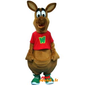 Mascotte de kangourou marron, géant. Mascotte d'Australie