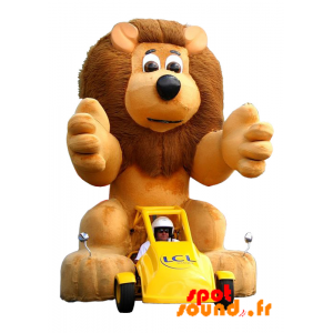 Yellow Car With A Brown Lion Mascot. Mascot Lcl - MASFR034285 - Lion mascots