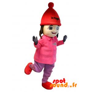 Mascotte de fillette brune en tenue de ski. Mascotte La Plagne - MASFR034288 - mascotte