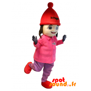 Brown Girl Mascot Ski Outfit. Mascotte La Plagne - MASFR034288 - mascotte