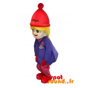 Mascotte La Plagne. Blonde Girl Holding Ski Mascot - MASFR034289 - mascotte