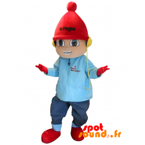 Boy Mascot Dressed In Winter Attire. La Plage - MASFR034290 - mascotte